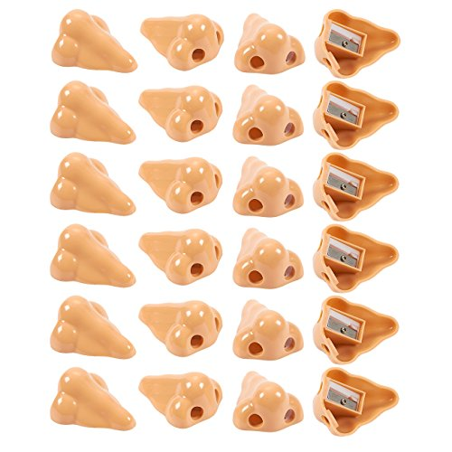 Nose Pencil Sharpeners - Set of 24 Hand Held Plastic Pencil Sharpeners, Manual Sharpeners, Great as Novelty Party Favors, Party Stuffers, Gag Gifts, 1.7 x 1 x 2.2 -