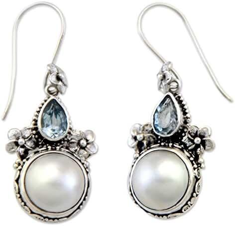 NOVICA Blue Topaz Cultured Mabe Pearl .925 Sterling Silver Dangle Earrings 'Frangipani Trio'