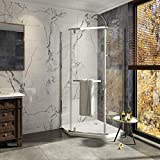Duschdeluxe 36' x 36' x 72' Neo-Angle Frameless Pivot Shower Enclosure | 1/4' Tempered Clear Glass Hinged Prism Corner Shower Enclosure with Towel Handle - Brushed Nickel Finish