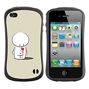 Pulsar iFace Series Tpu silicona Carcasa Funda Case para Apple iPhone 4 / iPhone 4S , Cute Love Heart Sad