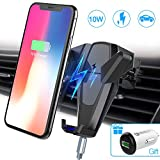 Wireless Car Charger, Foluu 10W Fast Wireless Charging Car Mount Phone Holder Car Wireless Charger Phone Holder for Samsung Galaxy S9/S9+/S8/S8+/S7/S7 Edge/S6 iPhone X/8/8+/Qi Enabled Devices Gray