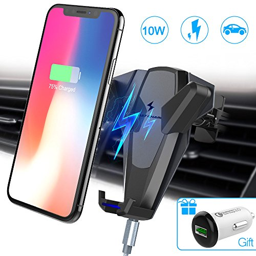 Wireless Car Charger, Foluu 10W Fast Wireless Charging Car Mount Phone Holder Car Wireless Charger Phone Holder for Samsung Galaxy S9/S9+/S8/S8+/S7/S7 Edge/S6 iPhone X/8/8+/Qi Enabled Devices Gray by Foluu