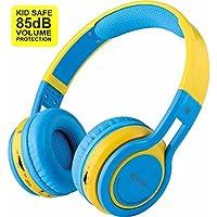 Contixo Kid Safe 85db Volume Limit, Foldable Wireless Bluetooth Headphone, FM Stereo Radio, (Blue)