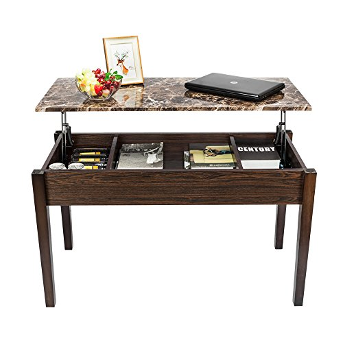 Coffee Table Multifunctional Coffee Table Lift-up Top Coffee Table Hidden Storage Compartment Lower Shelf (3 Compartment, Brown-1 Marble)