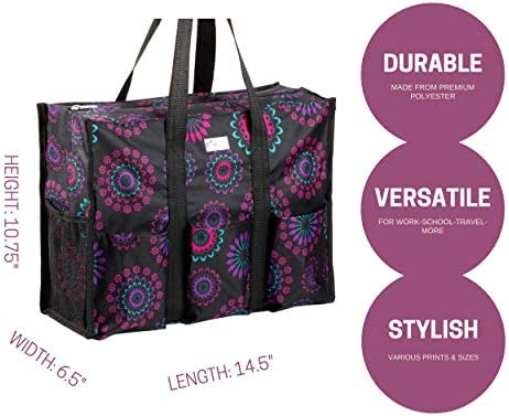 1f01e3e375ea ... Pursetti Zip-Top Organizing Utility Tote Bag with Multiple Exterior   Interior  Pockets for Working ...