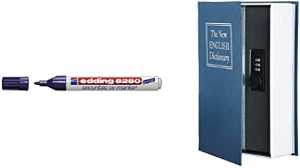 Edding 0007697690050 - Rotulador UV & AmazonBasics - Caja de seguridad en forma de libro - Cerradura con combinación - Azul: Amazon.es: Oficina y papelería