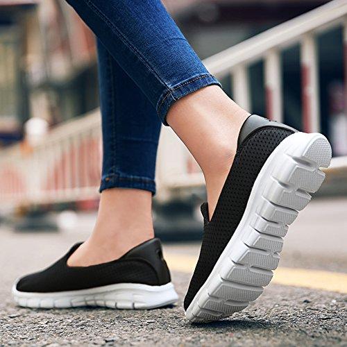 Greaten Shoes Loafers Mesh On Lightweight Walking Sneakers Women's Black Slip Casual Flats 4w08R4qr
