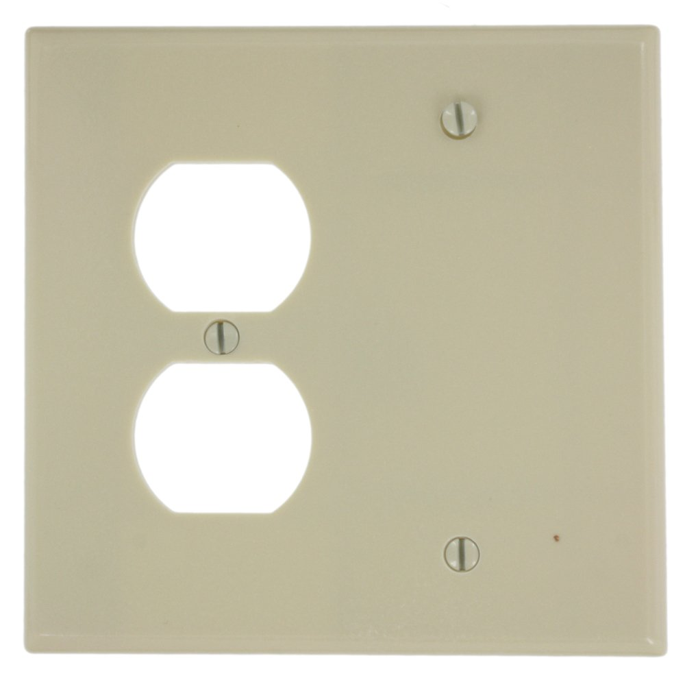 Leviton 80508-W 2-Gang 1-Duplex 1-Blank Device Combination Wallplate, Box Mount, Midway Size, White