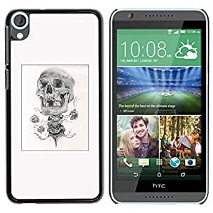 GOODTHINGS Funda Imagen Diseño Carcasa Tapa Trasera Negro Cover Skin Case para HTC Desire 820 - blanco negro cráneo cartel dibujo a lápiz