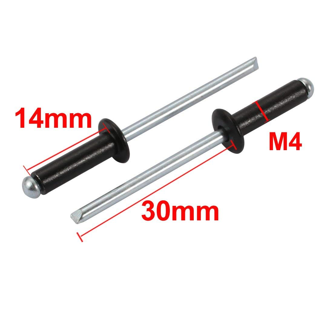 Remaches Ciegos negros de aluminio de extremo abierto C/úpula Redonda del cabezal M4x14mm 50piezas