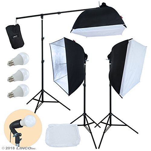 LINCO Lincostore Photo Studio Lighting LED Lights Softbox with Boom Arm Kit AM246 from Linco