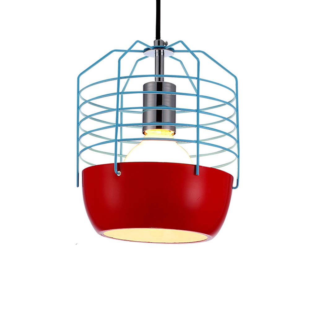錬鉄のシャンデリア棒、台所/ポーチ/カフェ E27 のための産業天井ランプのレトロな据え付け品 * 1 (球根無し),Red  Red B07NZP2SYT