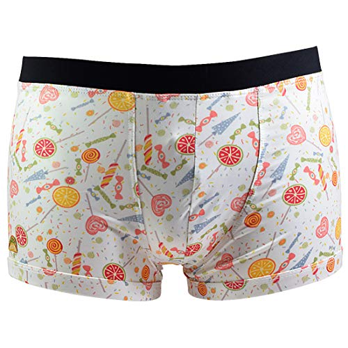 Santa Playa Sweets & Treats Super Soft Breathable Boxer Brief Trunk, Fun Print Men's Underwear :: Candy Factory (XL, Cream)