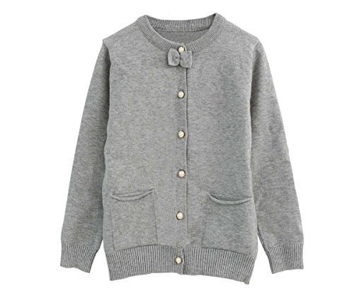 SMILING PINKER Little Girls Cardigan Long Sleeve Knit Sweaters with Cute Bow(5-6,Grey) (Girls Long Cardigan)