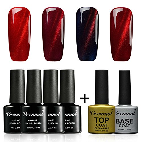 Vrenmol Soak Off UV LED 3D Magnetic Red Line Cat Eye Nail Gel Polish 4 Colors with No Wipe Top and Base Coat Set + Free Magnet - Eye Red Cat