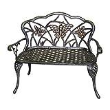 Oakland Living Butterfly Cast Aluminum Love Seat Bench, Antique Bronze