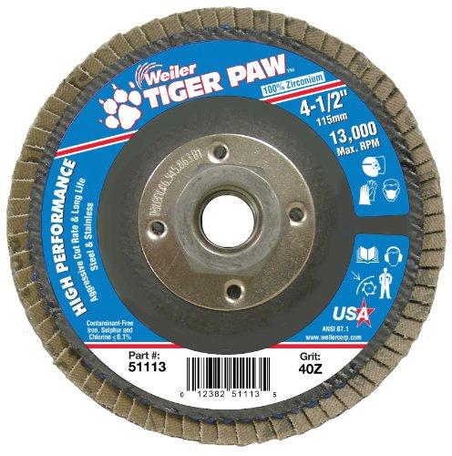 Weiler 51113 Tiger Paw High Performance Abrasive Flap Disc, Type 27 Flat Style, Phenolic Backing, Zirconia Alumina, 4-1/2