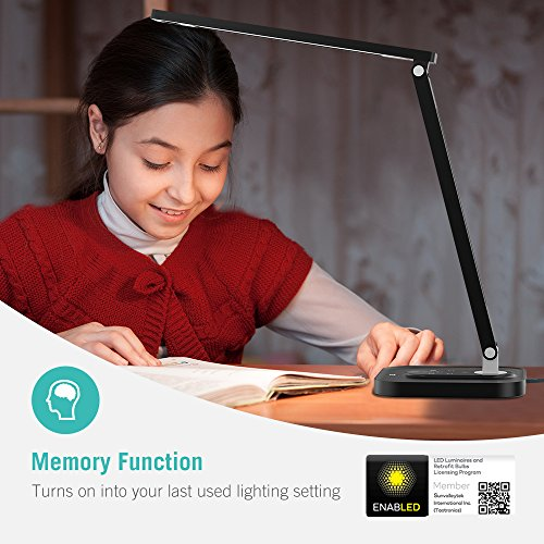 TaoTronics TT-DL029 LED Desk Lamp with USB Charging Port, 5 Color Temperatures and 5 Brightness Levels, Night Light Mode, 1H Timer, 12W, Black, Official Member of Philips Enabled Licensing Program by TaoTronics (Image #4)