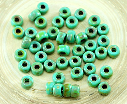 60pcs Picasso Turquoise Green Czech Glass Large Hole Pony Beads - Glass Beads Pony
