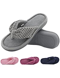 Women's Cozy Memory Foam Plush Gridding Velvet Lining Spa Thong Flip Flops Clog Style House Indoor Slippers