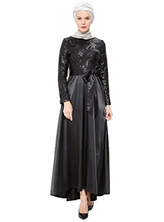 19fceead7fb9 Ginezza Turkish Muslim Modesty Evening Dress Long Sleeves Unlined Crew Neck  (38)