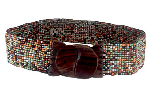Abstract Belt Buckle (Nesha Multicolor Beaded Stretch Belt with Wood)