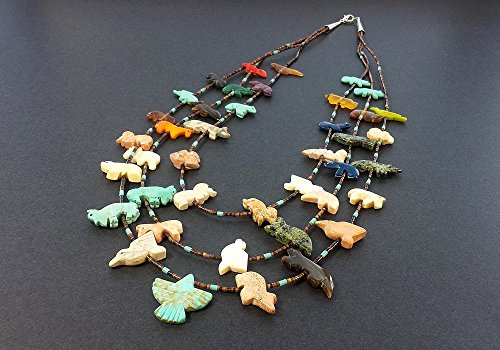 - Hand Carved Multi Strand Thunderbird Multicolored Mixed Animals Fetish Necklace