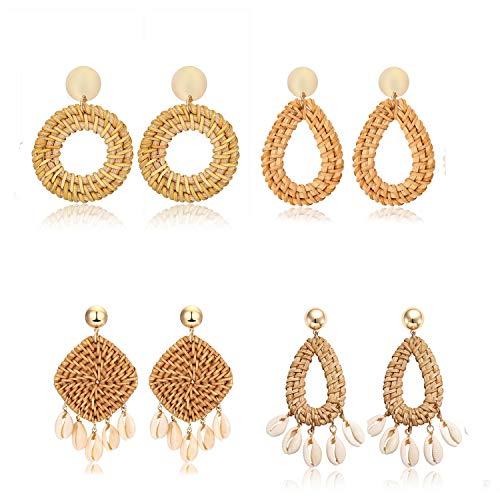 Weave Straw Drop Hoop Disc Teardrop Earrings Set Boho Shell Rattan Dangle Statement Earrings For Women Girls (teardrop hoop square)