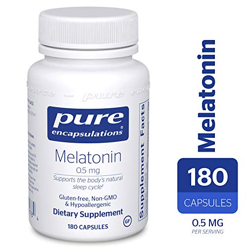 - Pure Encapsulations - Melatonin 0.5 mg - Hypoallergenic Supplement Supports The Body's Natural Sleep Cycle* - 180 Capsules