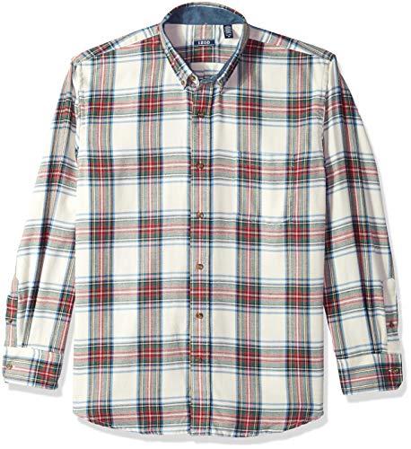 (IZOD Men's Stratton Long Sleeve Button Down Plaid Flannel Shirt, Vanilla, Medium)