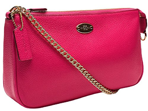 Coach Pebbled Leather Large Wristlet 53340 Pink Ruby by Coach