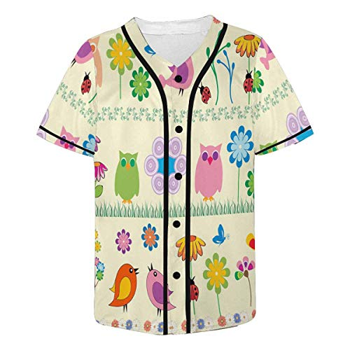 InterestPrint Men's Cute Flowers and Birds Baseball Jersey Button Down T Shirts Plain Short Sleeve M