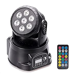 Flashandfocus.com 51Fe991%2BDNL._SS300_ U`King DJ Lights Moving Head RGBW 4 color Stage Lighting Effect Light 7x10W LED Spotlight by Sound Activated and DMX…