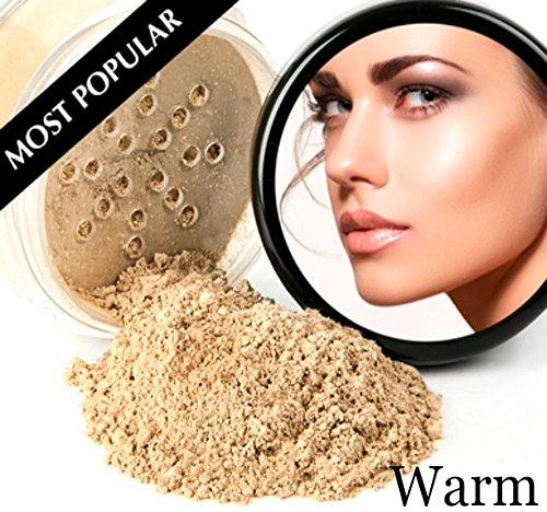 ULTIMATE KIT (WARM- Neutral Shade, Most Popular) Full Size Mineral Makeup Set Matte Foundation Kit Bare Face Sheer Powder Cover