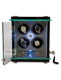Rapport London Commander Quad Watch Winder w/ Glass Display