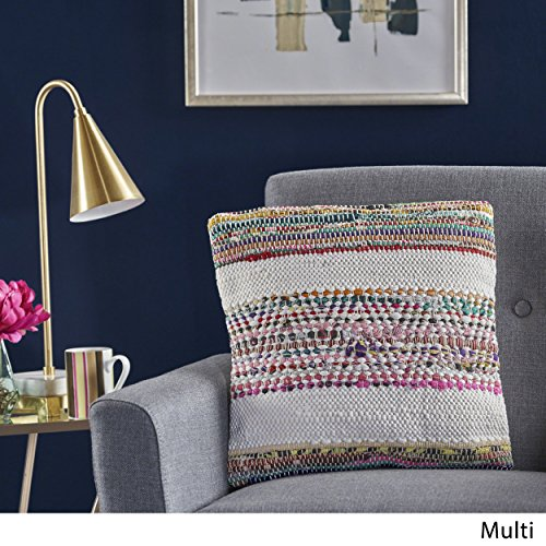 Great Deal Furniture 301694 Dover Multi Chindi and Recycled Cotton Fabric Pillow