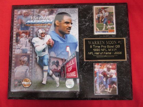 Warren Moon Houston Oilers 2 Card Collector Plaque w/8x10 photo LIMITED EDITION