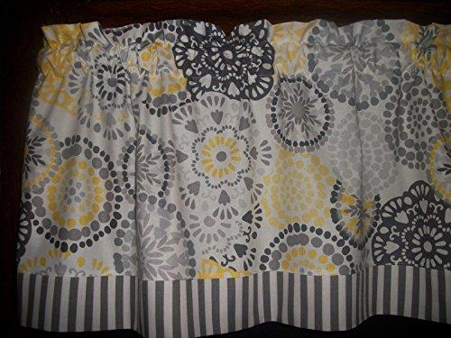 Gray Stripes Yellow Circles retro mid-century waverly fabric curtain Valance
