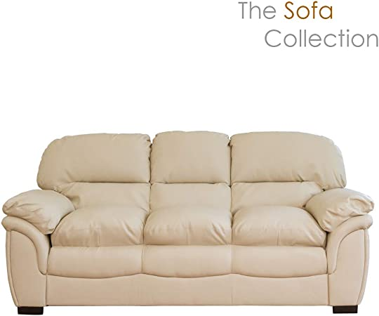 Oklahoma Leather Sofa Suite - 1/2/3/3+2 Seat in Black/Brown/Cream (Cream, 3  Seat)