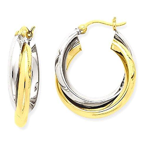 ICE CARATS 14k Two Tone Yellow Gold Double Hoop Earrings Ear Hoops Set Fine Jewelry Gift Set For Women Heart