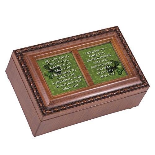 Cottage Garden May God Grant Woodgrain Petite Music Box/Jewelry Box Plays Irish Lullaby