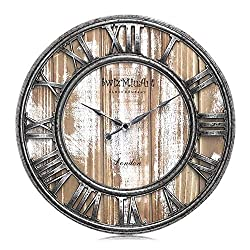Wood Wall Clocks Rustic Farmhouse Battery Operated Non Ticking Silent Wall Clock Metal 3D Large Home Decor Retro Clocks for Bedrooms Walls ,Office,Living room,kitchen, Antique Vintage (13 inch Pink )