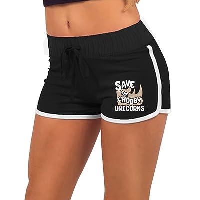 MC WUAHW Save The Chubby Unicorn Rhino Ladies Yoga Shorts Quick Dry Sports Pants