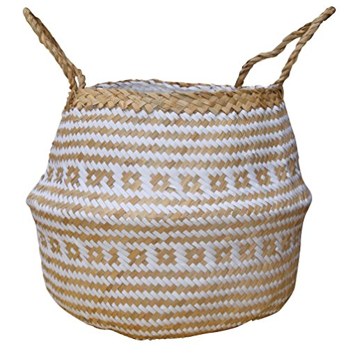 Woven Natural (DUFMOD Large Natural and Plush Woven Seagrass Tote Belly Basket for Storage, Laundry, Picnic, Plant Pot Cover, and Beach Bag (Plush Criss-Cross Seagrass White, Large))
