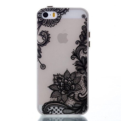 Noctilucent Glow Back Soft TPU Tasche Hüllen Schutzhülle - Case für iPhone SE/5s/5 - Retro Floral Pattern