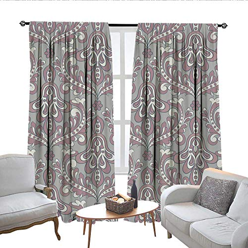 QianHe Room Darkening Curtains for Bedroom Vector Floral Wallpaper Baroque Style Drapes Panels W72 x L45 (Panel Time Bed Free)