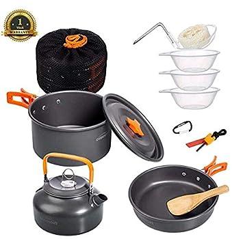 Overmont 11Pcs Kit de Utensilios Cocina Camping Olla Sartén Tetera Vajilla para Acampada Senderismo Excursión al Aire Llibre de Aluminio: Amazon.es: ...