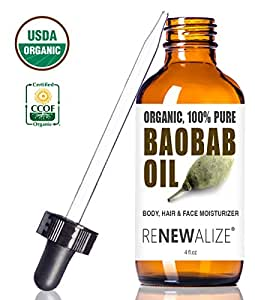 USDA Certified Organic BAOBAB SEED OIL in LARGE 4 OZ. DARK GLASS BOTTLE with Glass Eye Dropper | 100% Pure Cold Pressed and Unrefined | All Natural Moisturizer for Luxurious Hair , Skin and Nails