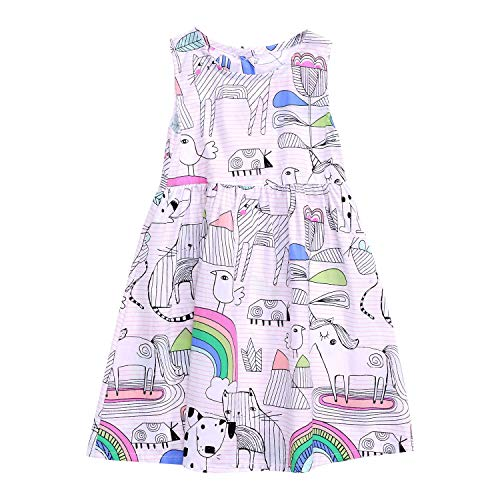 (Little Girls Summer Casual Dress - Flower/Unicorn/Easter Bunny Toddler Cotton Outfit Size 3T)