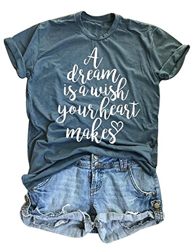 Make Hearts - A Dream is A Wish Your Heart Makes T Shirt Womens Casual Short Sleeve Sumemr Top Blouse Size XXL (Green)